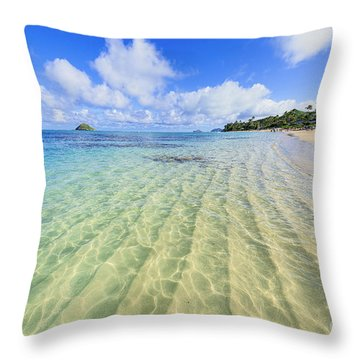 Lanikai Beach Mid Day Ripples In The Sand Throw Pillow