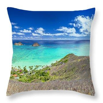 Lanikai Beach Panorama Throw Pillow