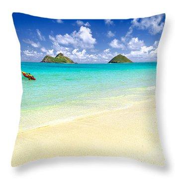 Lanikai Beach Paradise Throw Pillow