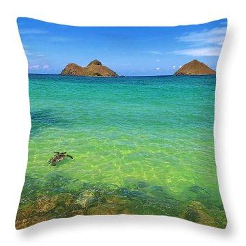 Lanikai Beach Sea Turtle Throw Pillow