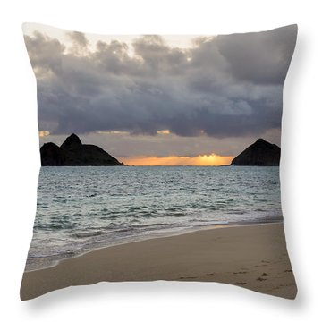 Lanikai Beach Sunrise 4 - Kailua Oahu Hawaii Throw Pillow by Brian Harig
