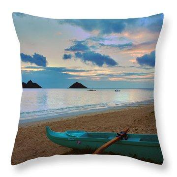 Lanikai Beach Sunrise 6 - Kailua Oahu Hawaii Throw Pillow by Brian Harig
