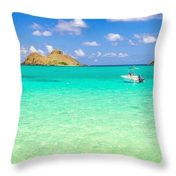 Throw Pillow featuring the photograph Lanikai Beach Two Boats And Two Mokes by Aloha Art
