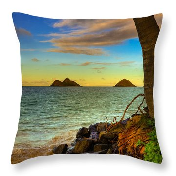 Lanikai Island Sunset Throw Pillow