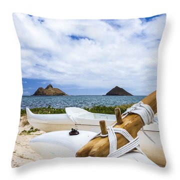 Throw Pillow featuring the photograph Lanikai Outrigger 1 by Leigh Anne Meeks