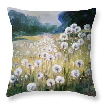 Lanscape With Blow-balls Throw Pillow