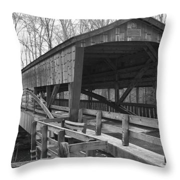 Lanterman Falls Covered Bridge Throw Pillow by Guy Whiteley