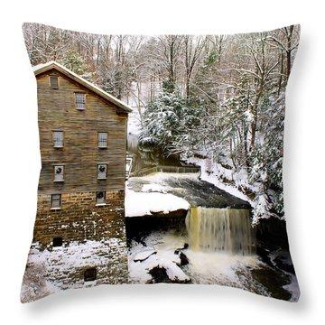 Lanterman's Mill In Winter Throw Pillow