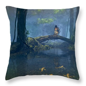 Lantern Bearer Throw Pillow by Cynthia Decker