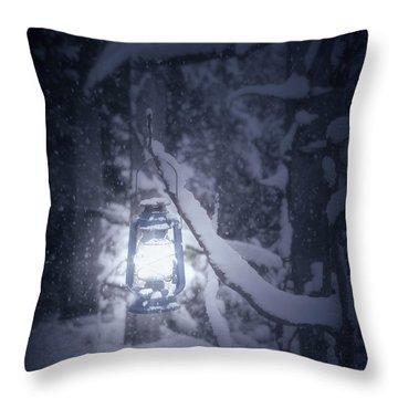 Lantern In Snow Throw Pillow by Joana Kruse