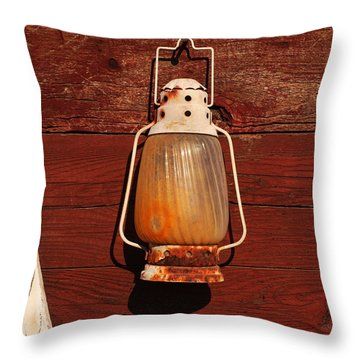 Lantern On Red Throw Pillow by Art Block Collections