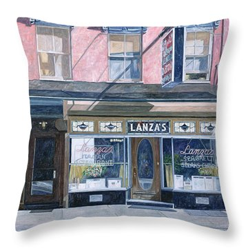 Lanza's Restaurant 11th Street East Village Throw Pillow by Anthony Butera