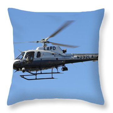Lapd In Flight Throw Pillow by Shoal Hollingsworth