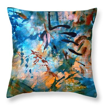 Throw Pillow featuring the painting Lapis Leaves by Mary Schiros