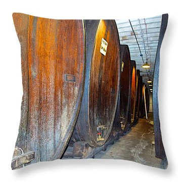 Large Barrels At Korbel Winery In Russian River Valley-ca Throw Pillow