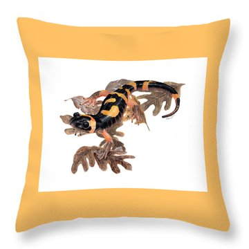 Large Blotched Salamander On Oak Leaves Throw Pillow by Cindy Hitchcock