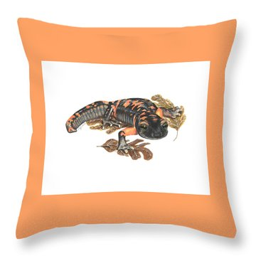 Large Blotched Salamander2 Throw Pillow by Cindy Hitchcock
