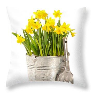 Large Bucket Of Daffodils Throw Pillow by Amanda Elwell