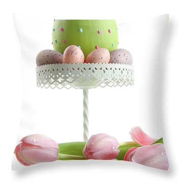Large Easter Egg With Pink Tulips  Throw Pillow by Sandra Cunningham