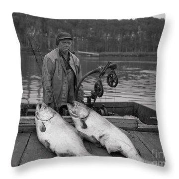 Large King Salmon Moss Landing Monterey California  Circa 1955 Throw Pillow