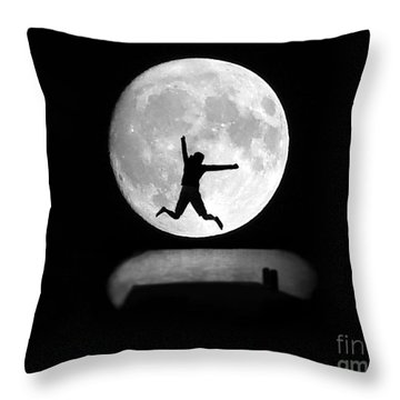 Large Leap For Mankind Throw Pillow