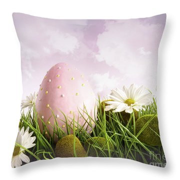 Large Pink Easter With Flowers In Tall Grass Throw Pillow by Sandra Cunningham