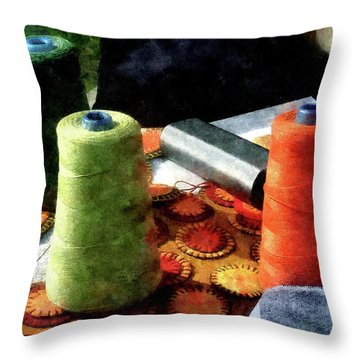 Large Spools Of Thread Throw Pillow by Susan Savad