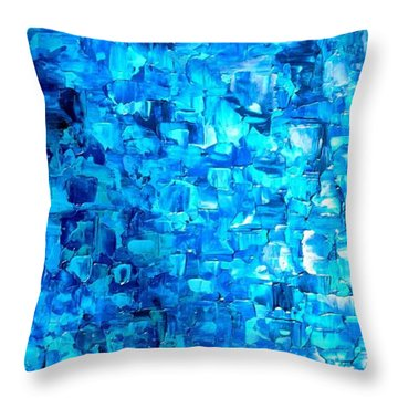 Large Wall Art Textured Painting Vertical Abstract Waterfall Throw Pillow