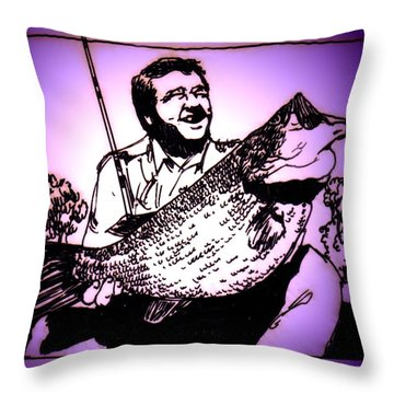 Largemouth Throw Pillow by George Pedro