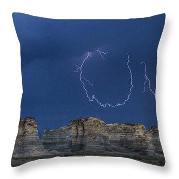 Lariat Lightning At Monument Rocks Throw Pillow by Rob Graham
