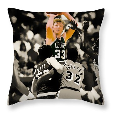 Larry Bird Throw Pillow by Brian Reaves