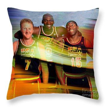 Larry Bird Michael Jordon And Magic Johnson Throw Pillow