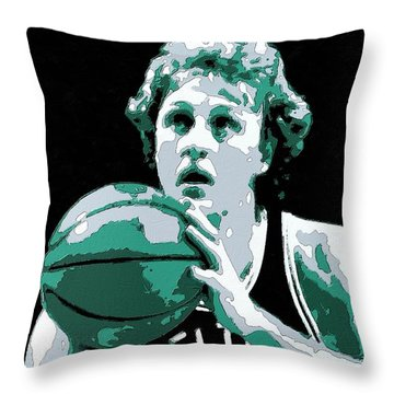 Larry Bird Poster Art Throw Pillow by Florian Rodarte