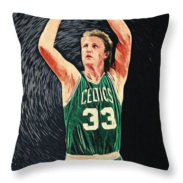 Larry Bird Throw Pillow by Taylan Apukovska