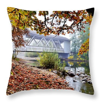 Larwood Covered Bridge Throw Pillow