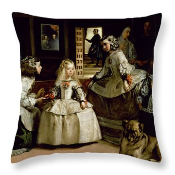 Las Meninas, Detail Of The Lower Half Depicting The Family Of Philip Iv Of Spain, 1656 Throw Pillow