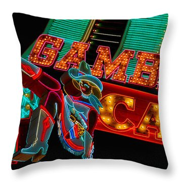 Las Vegas Neon Signs Fremont Street  Throw Pillow by Amy Cicconi