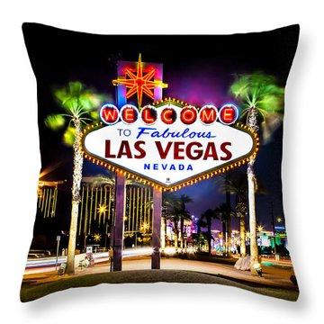 Las Vegas Sign Throw Pillow by Az Jackson