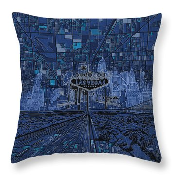 Las Vegas Skyline Throw Pillow by Bekim Art