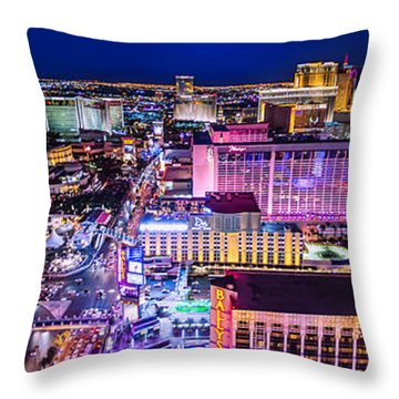 Las Vegas Strip North View 3 To 1 Aspect Ratio Throw Pillow by Aloha Art