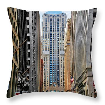 Lasalle Street Chicago - Wall Street Of The Midwest Throw Pillow by Christine Till