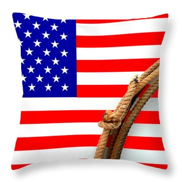 Lasso And American Flag Throw Pillow