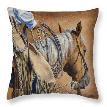 Lariat And Leather Throw Pillow