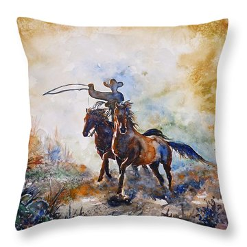 Lassoing Throw Pillow