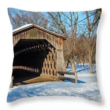 Last Covered Bridge Throw Pillow by Susan  McMenamin