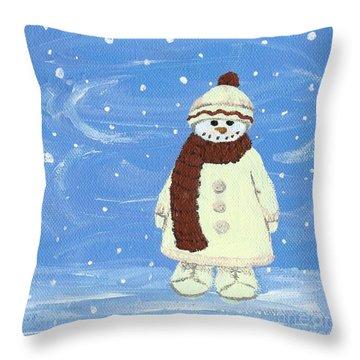Last Decoration Snowman Throw Pillow by Lynn Babineau