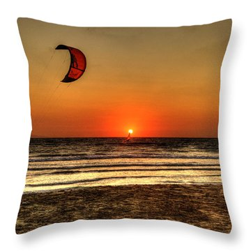 Throw Pillow featuring the photograph Last Glipses Of Sun At Prasonisi Bay by Julis Simo