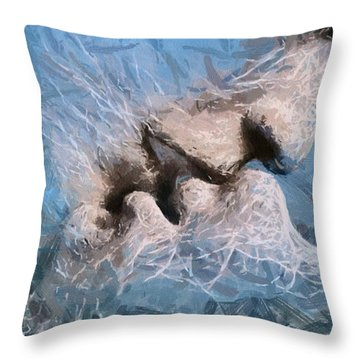 Throw Pillow featuring the painting Last Kiss by Georgi Dimitrov