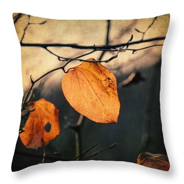 Last Leaves Throw Pillow by Taylan Apukovska