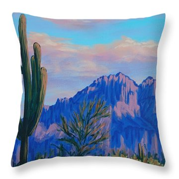 Last Light On The Superstitions Throw Pillow